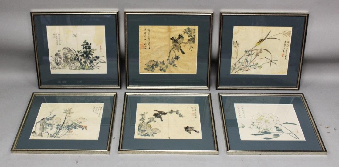 A GROUP OF SIX FRAMED CHINESE MUSTARD SEED GARDEN