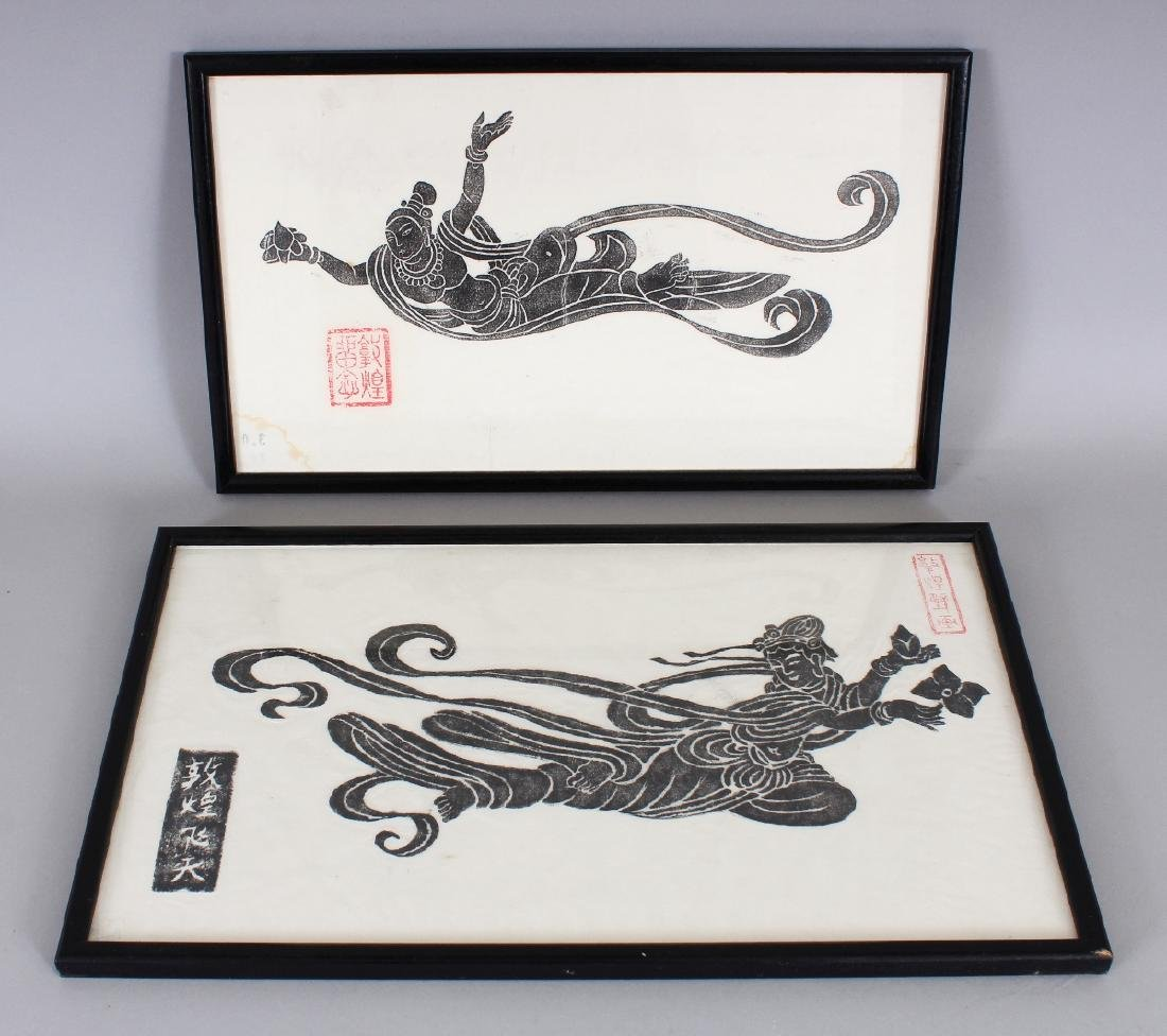 TWO FRAMED CHINESE WOODCUTS, the frames 15.3in x 9.5in