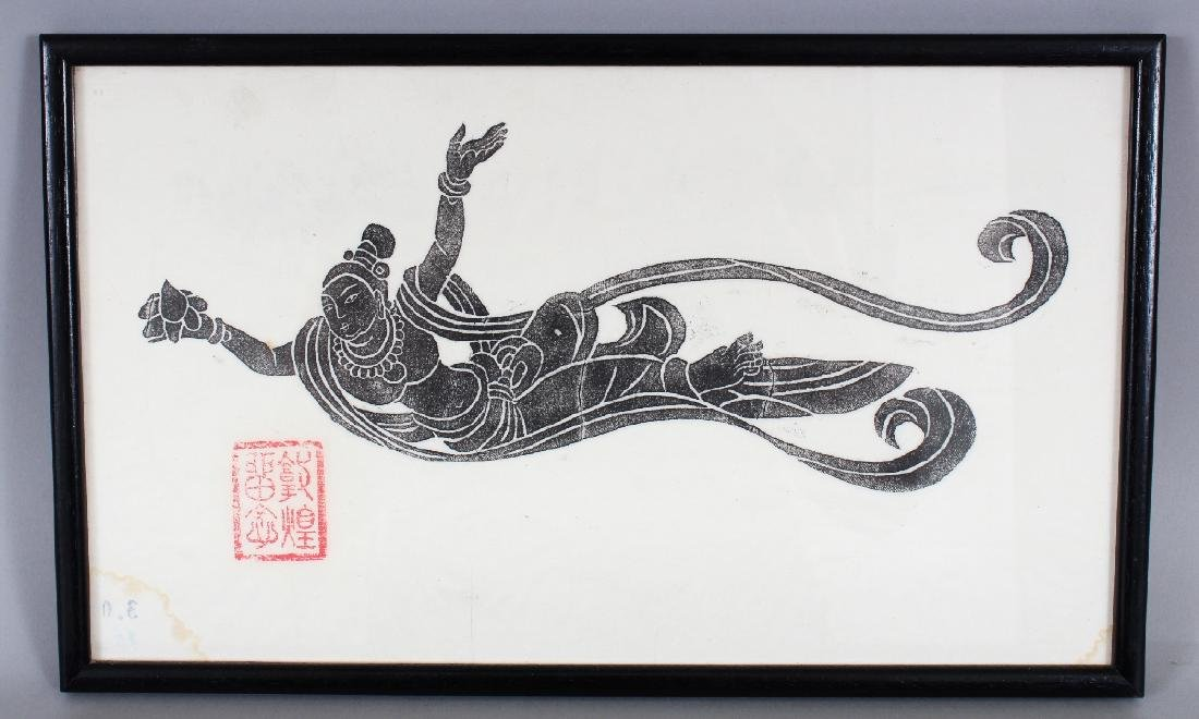 TWO FRAMED CHINESE WOODCUTS, the frames 15.3in x 9.5in - 2