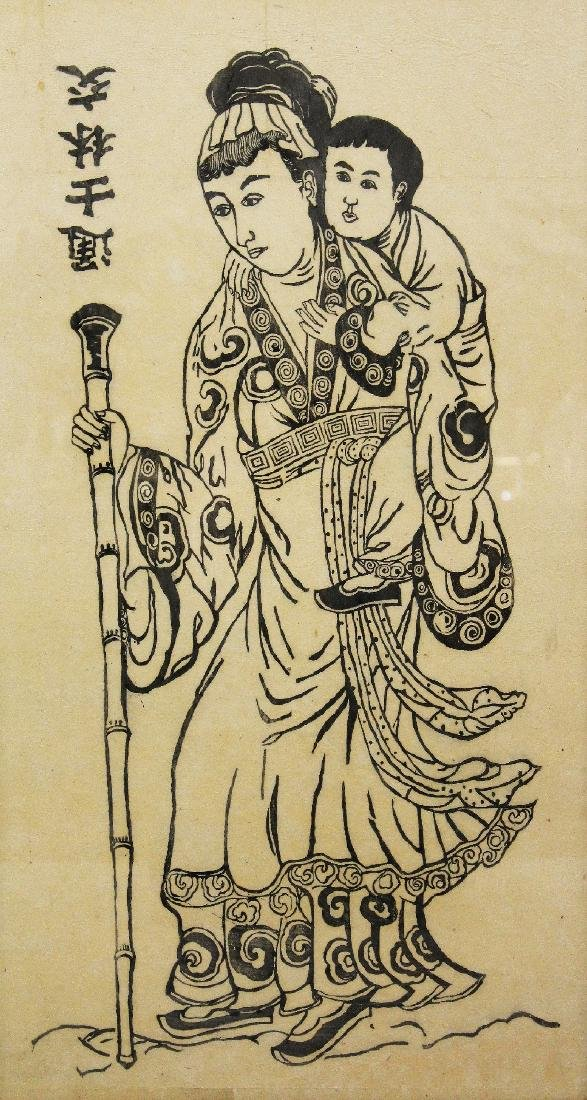 A 20TH CENTURY CHINESE FRAMED PRINT OF AN IMMORTAL - 2
