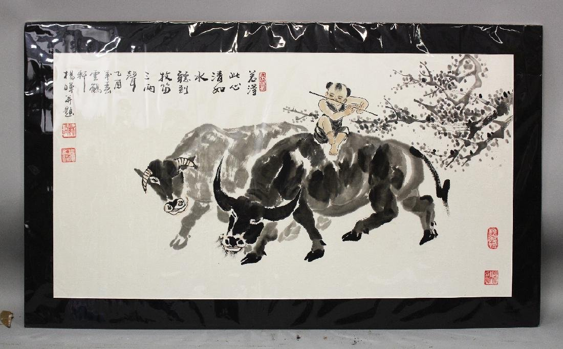 A LARGE 20TH CENTURY MOUNTED CHINESE PAINTING ON PAPER,