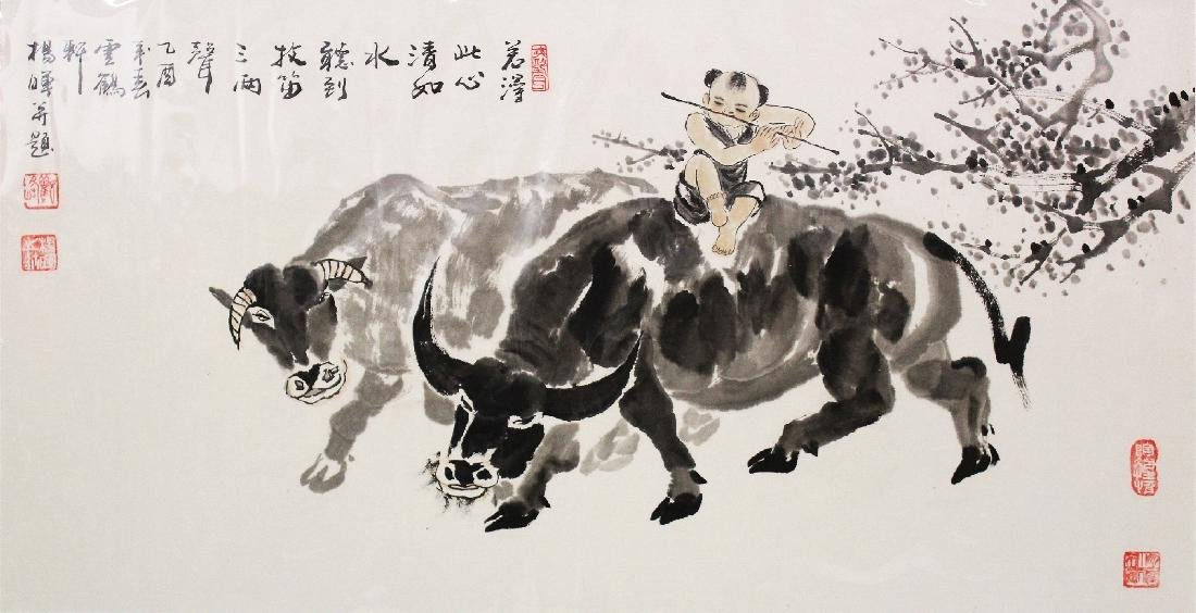 A LARGE 20TH CENTURY MOUNTED CHINESE PAINTING ON PAPER, - 2