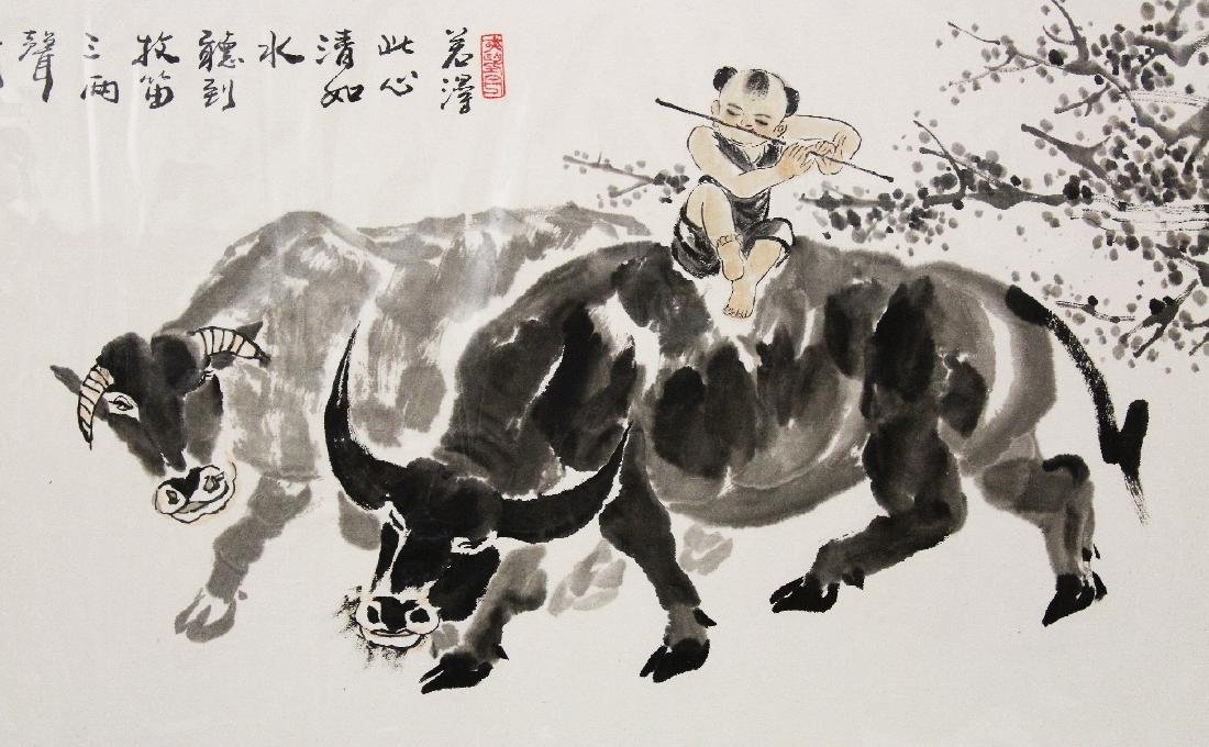 A LARGE 20TH CENTURY MOUNTED CHINESE PAINTING ON PAPER, - 3