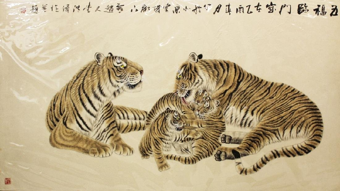 A VERY LARGE GOOD QUALITY 20TH CENTURY CHINESE PAINTING - 2