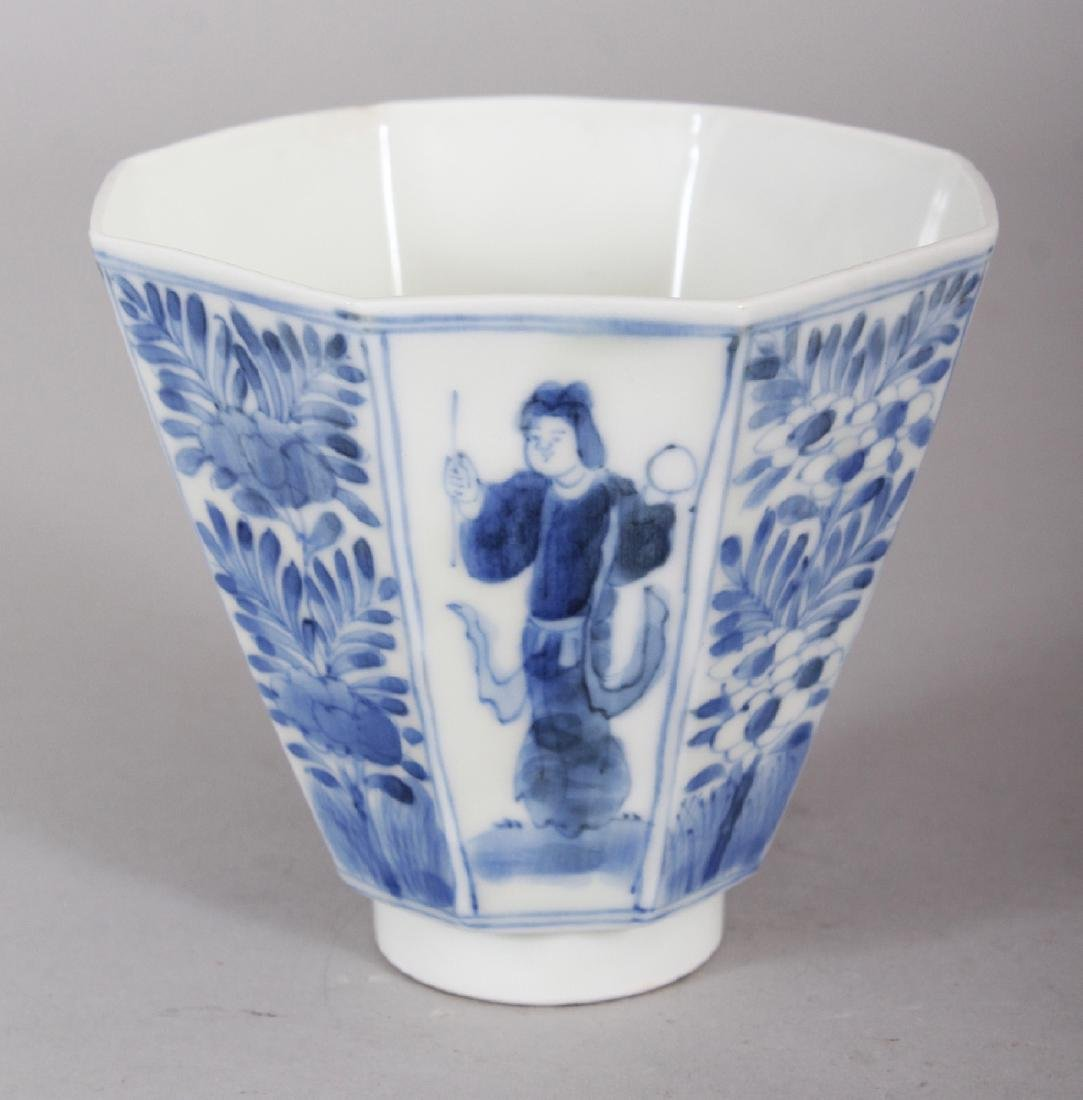 A JAPANESE BLUE & WHITE ARITA PORCELAIN HEXAGONAL