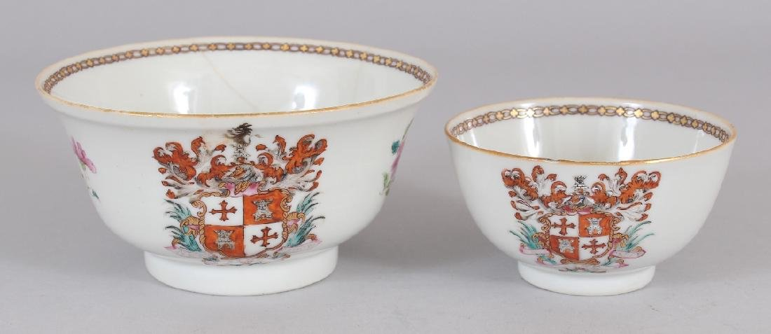 AN 18TH CENTURY CHINESE ARMORIAL PORCELAIN BOWL,