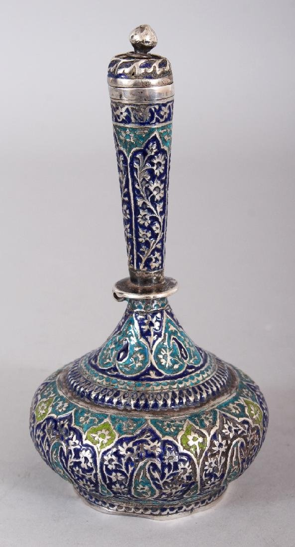 A 19TH CENTURY KASHMIRI ENAMELLED SILVER-METAL BOTTLE