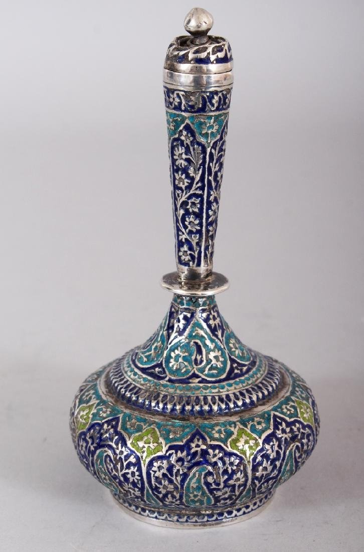 A 19TH CENTURY KASHMIRI ENAMELLED SILVER-METAL BOTTLE - 2