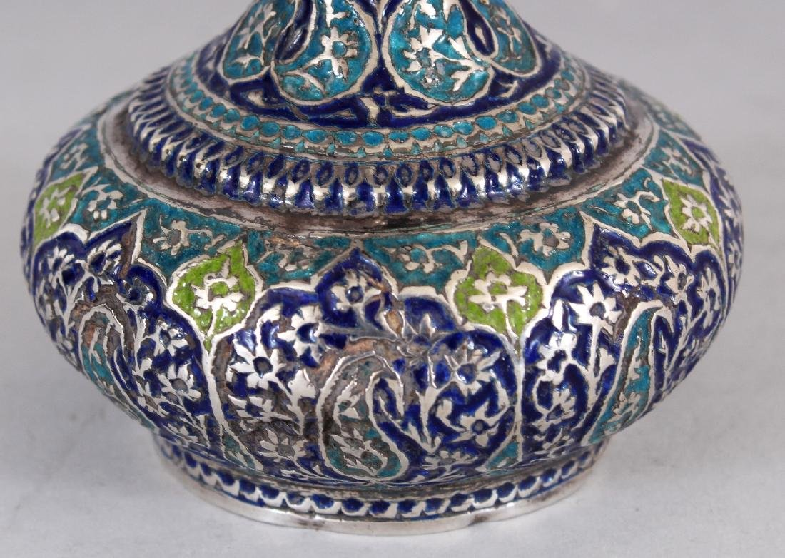A 19TH CENTURY KASHMIRI ENAMELLED SILVER-METAL BOTTLE - 3