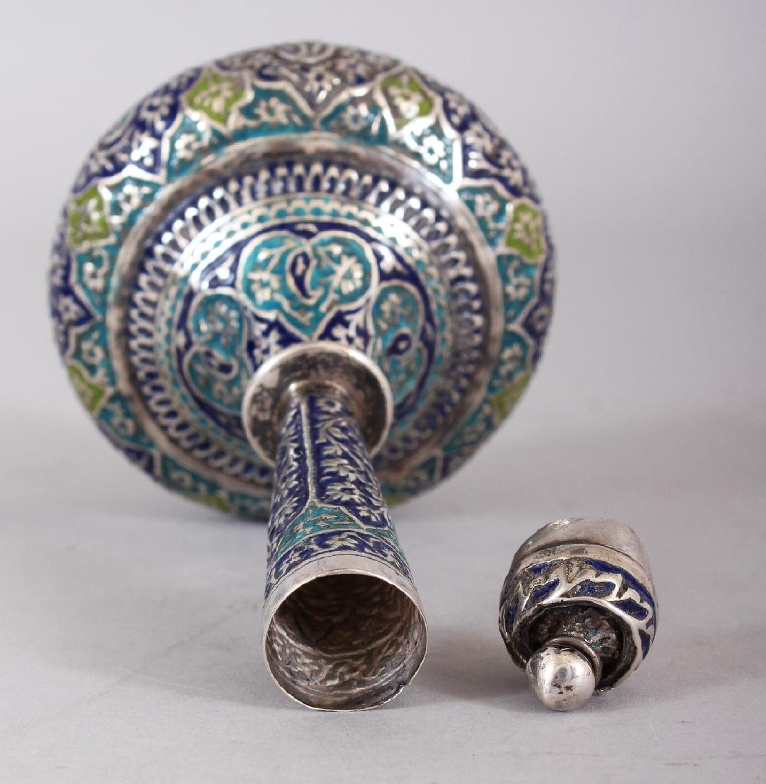 A 19TH CENTURY KASHMIRI ENAMELLED SILVER-METAL BOTTLE - 4