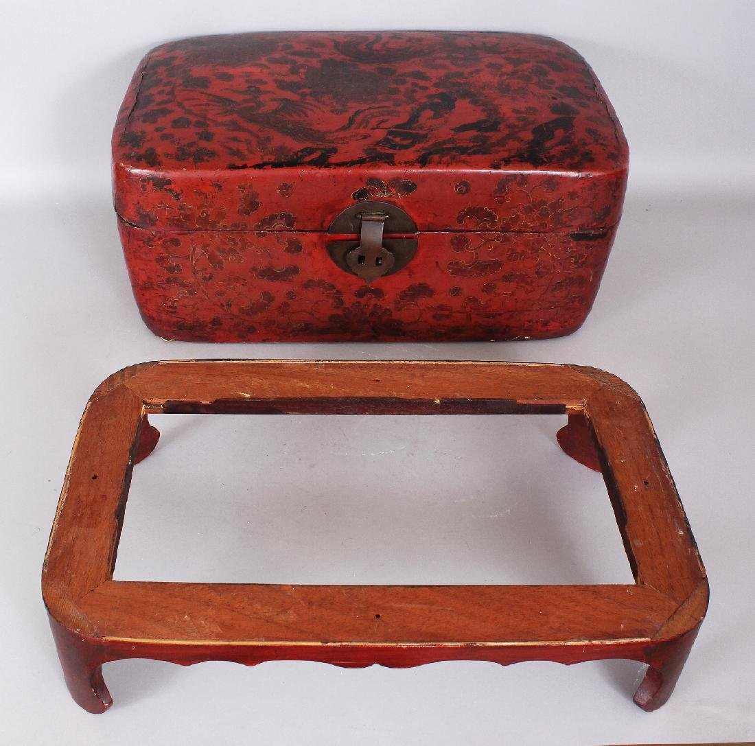 A 19TH CENTURY CHINESE RED GROUND LACQUERED WOOD BOX ON - 5