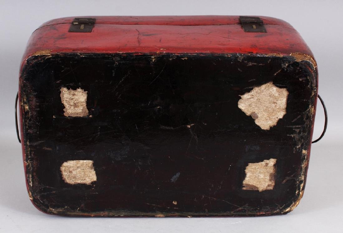 A 19TH CENTURY CHINESE RED GROUND LACQUERED WOOD BOX ON - 8