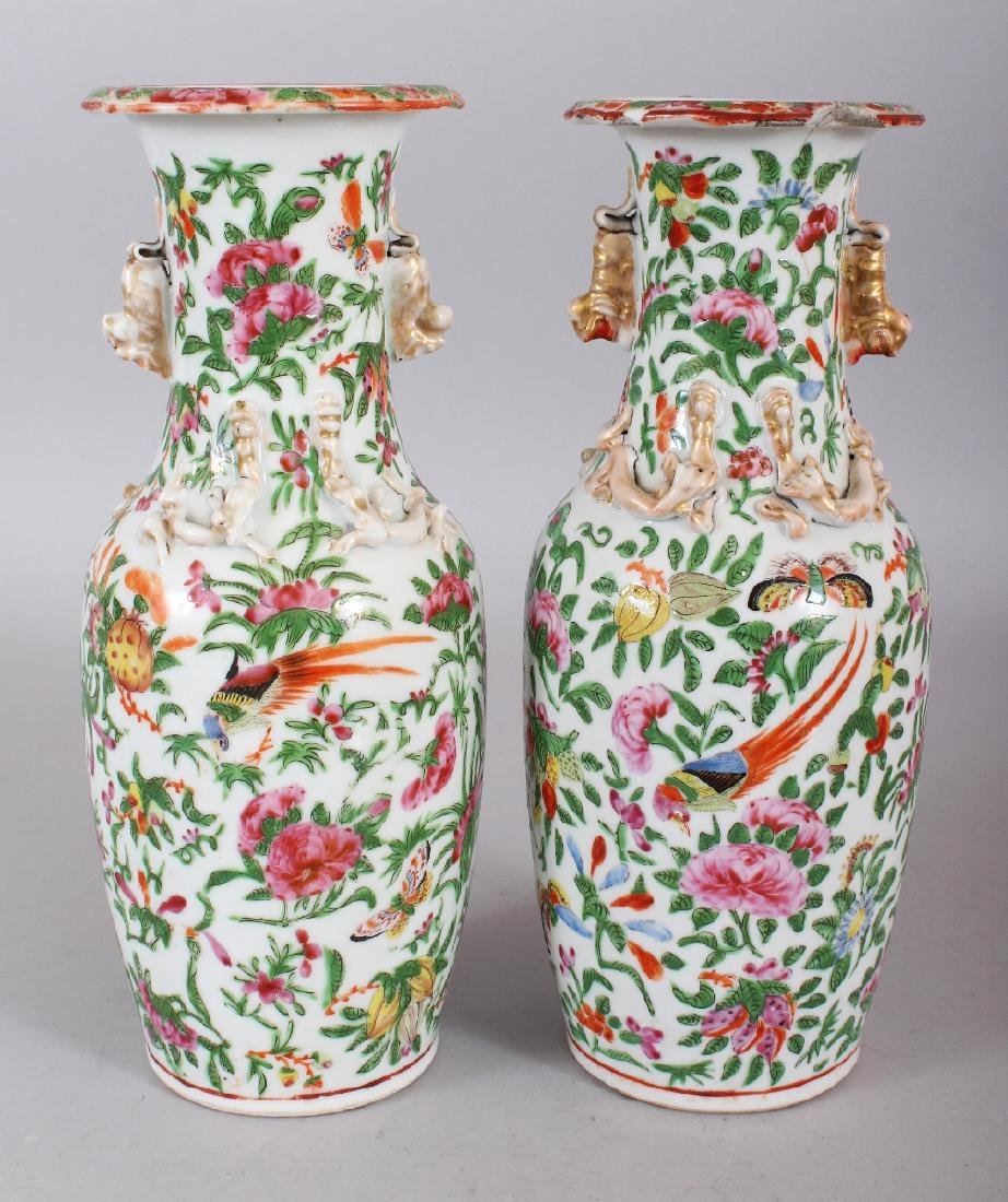 A PAIR OF 19TH CENTURY CHINESE CANTON PORCELAIN VASES,