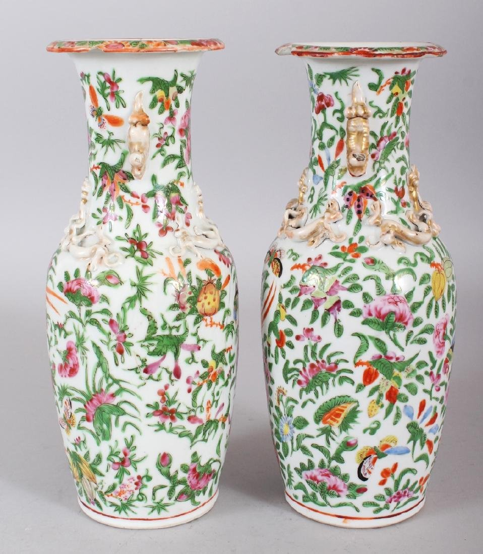 A PAIR OF 19TH CENTURY CHINESE CANTON PORCELAIN VASES, - 2