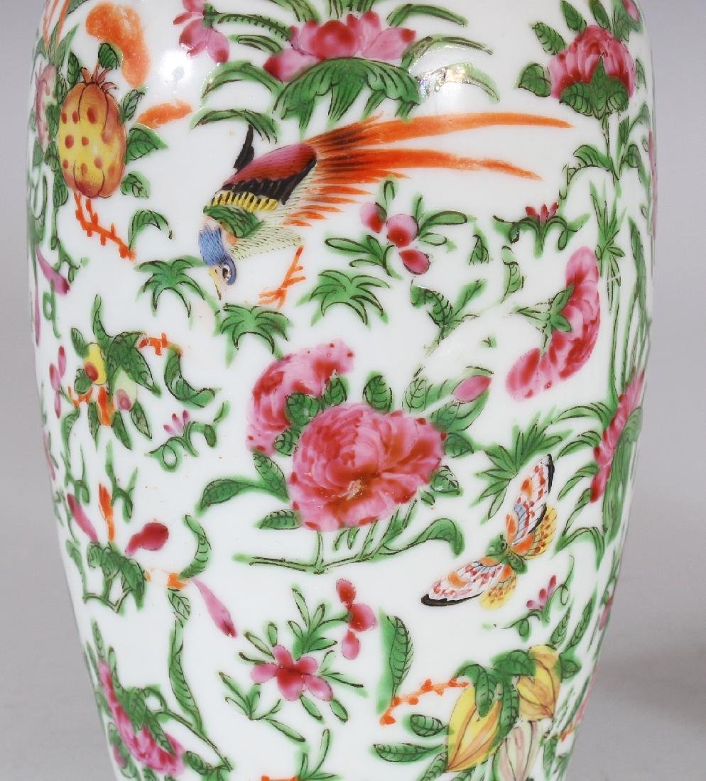 A PAIR OF 19TH CENTURY CHINESE CANTON PORCELAIN VASES, - 3