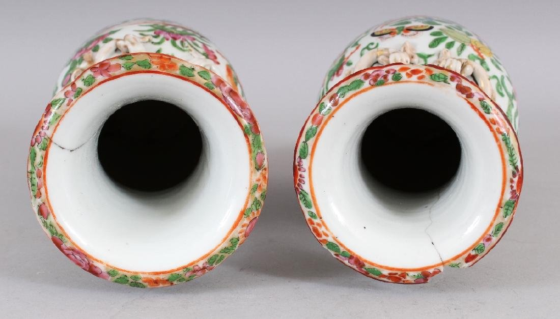 A PAIR OF 19TH CENTURY CHINESE CANTON PORCELAIN VASES, - 4