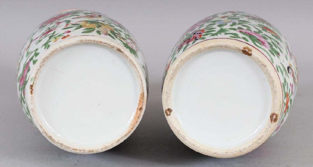 A PAIR OF 19TH CENTURY CHINESE CANTON PORCELAIN VASES, - 5