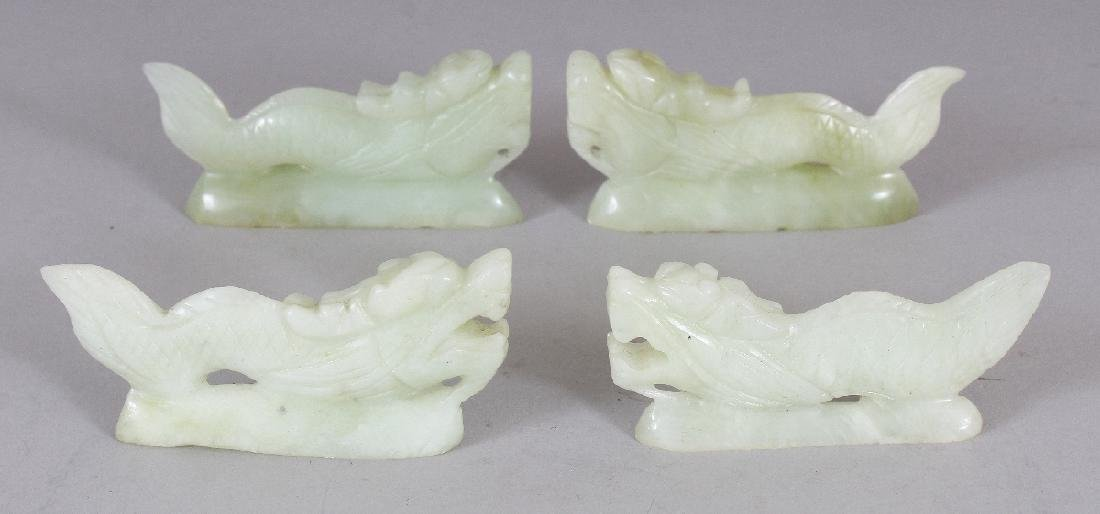 A SET OF FOUR CHINESE CELADON JADE-LIKE BOWENITE DRAGON
