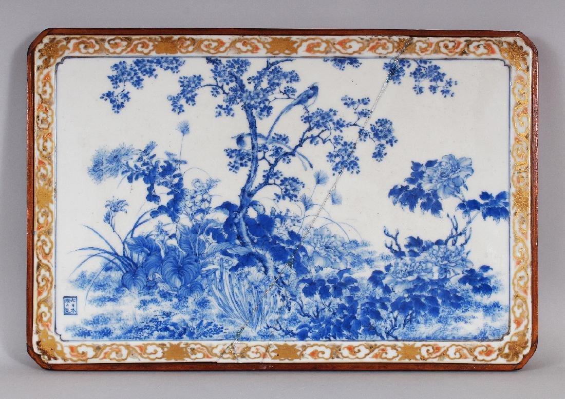 A FINE QUALITY WOOD MOUNTED JAPANESE SETO BLUE & WHITE