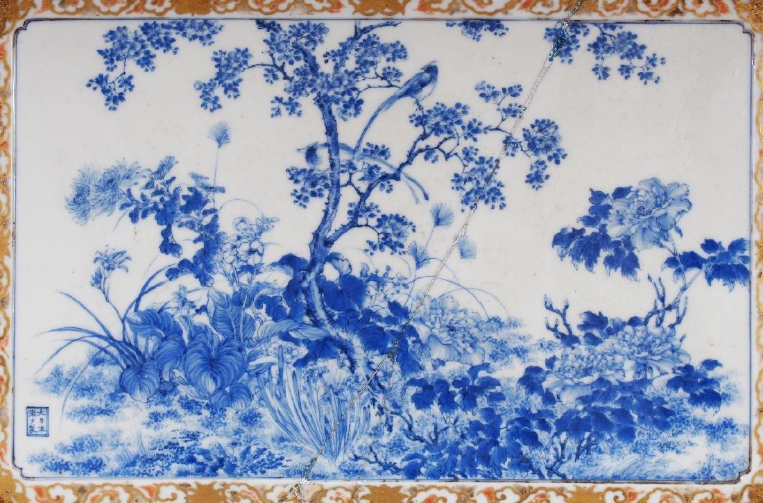 A FINE QUALITY WOOD MOUNTED JAPANESE SETO BLUE & WHITE - 2