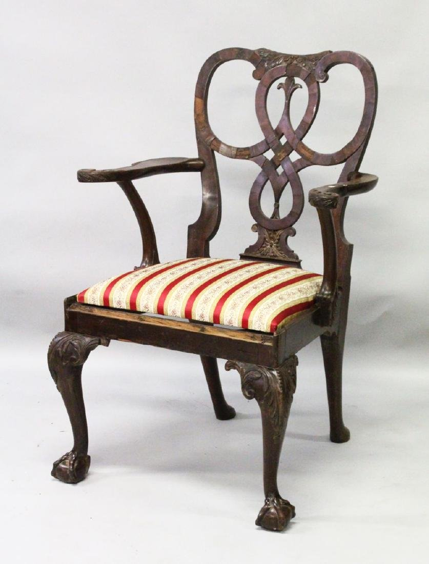 A GEORGE II MAHOGANY ARMCHAIR, with pierced shaped