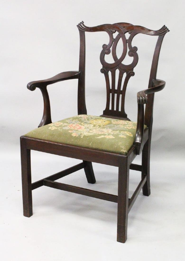 A 19TH CENTURY CHIPPENDALE STYLE MAHOGANY ARMCHAIR,
