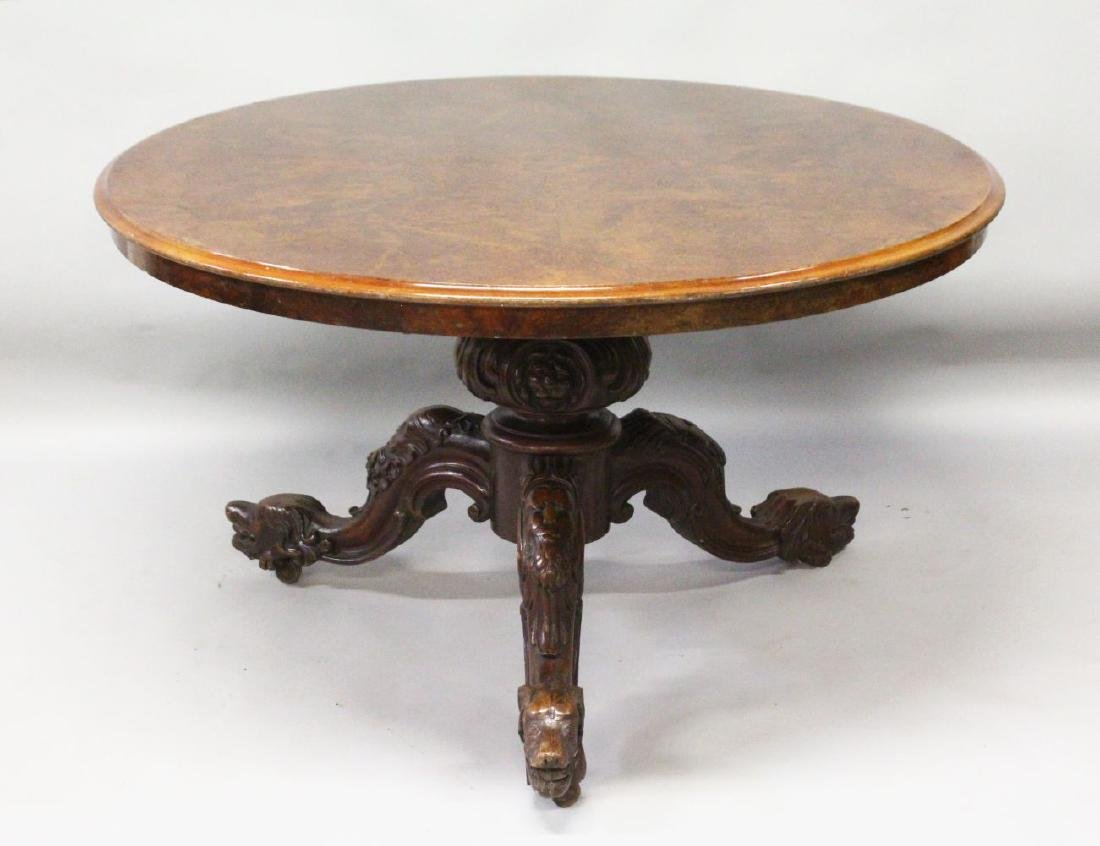 A GOOD VICTORIAN FIGURED WALNUT CIRCULAR DINING TABLE,