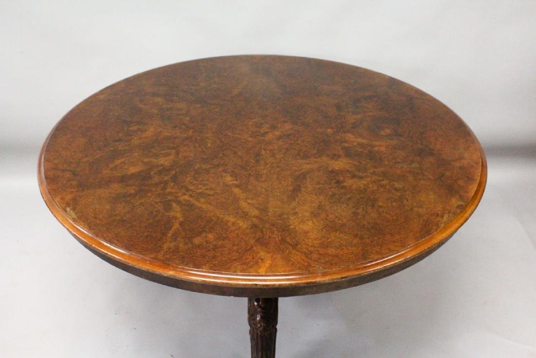 A GOOD VICTORIAN FIGURED WALNUT CIRCULAR DINING TABLE, - 2