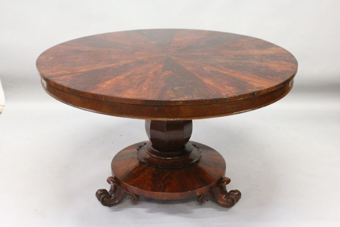 A LATE REGENCY ROSEWOOD CIRCULAR SEGMENTED TOP DINING - 2