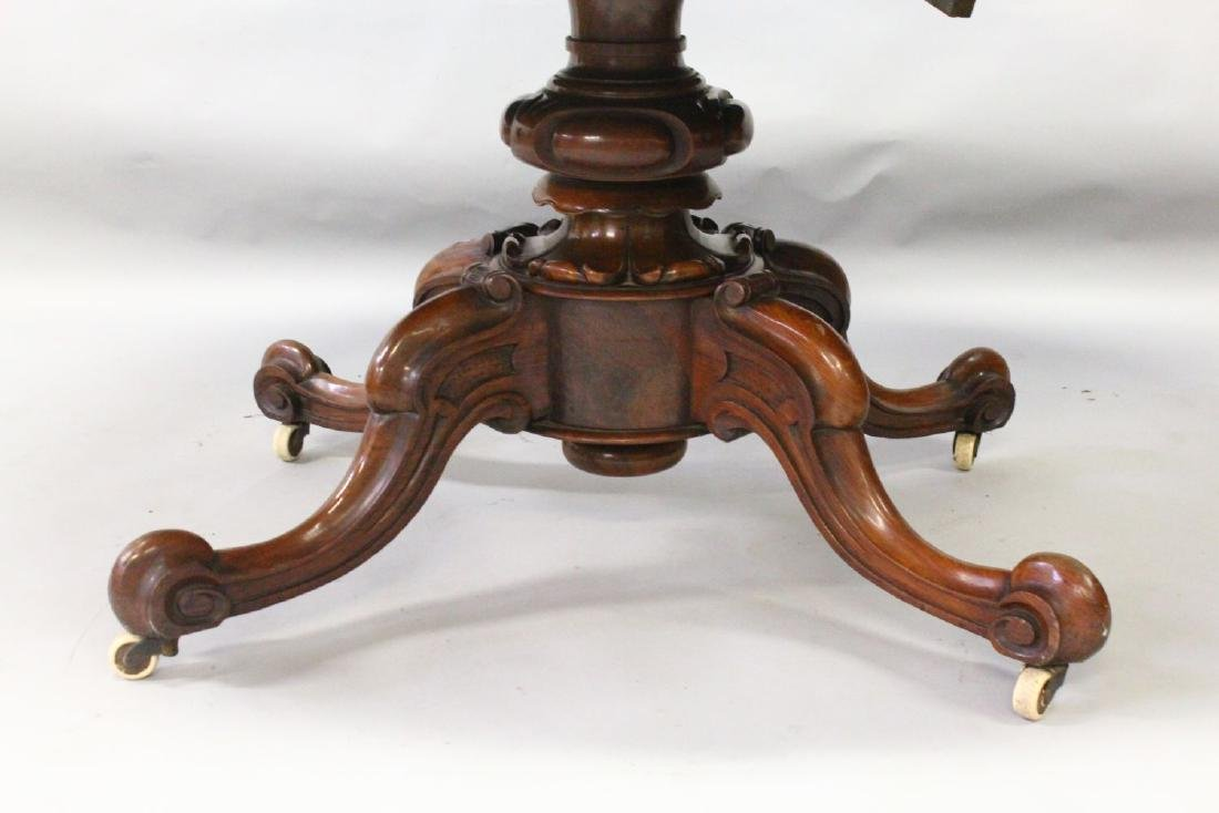 A VICTORIAN FIGURED WALNUT OVAL LOO TABLE, with centre - 3