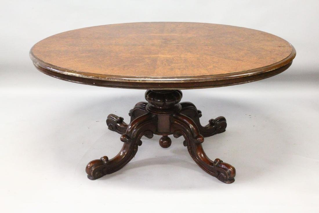 A VICTORIAN FIGURED WALNUT OVAL LOO TABLE, with