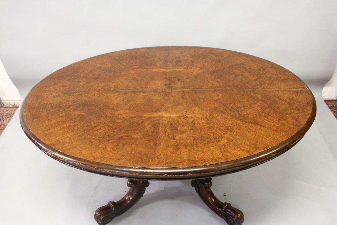 A VICTORIAN FIGURED WALNUT OVAL LOO TABLE, with - 2