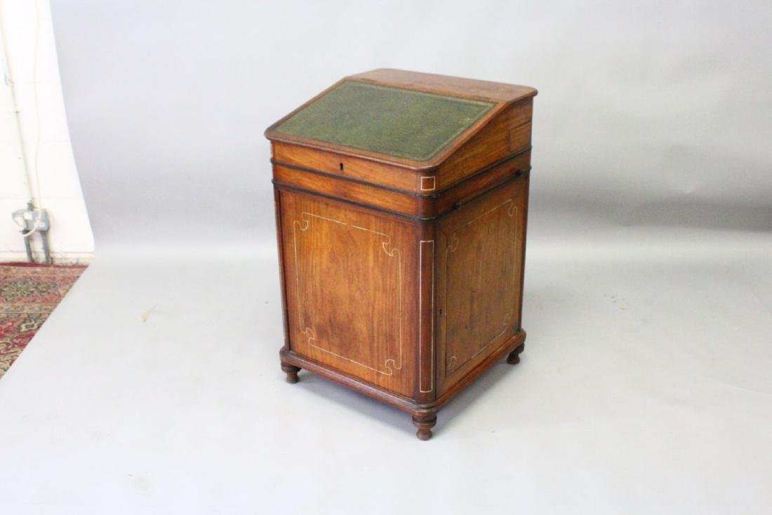 A 19TH CENTURY CAMPHOR WOOD DAVENPORT, with sliding - 2