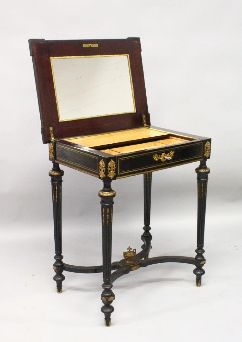 A 19TH CENTURY FRENCH EBONISED, ORMOLU AND MARQUETRY