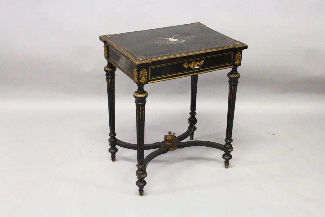 A 19TH CENTURY FRENCH EBONISED, ORMOLU AND MARQUETRY - 2