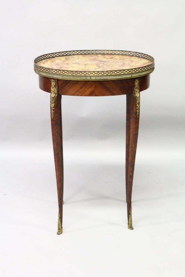 A 19TH CENTURY FRENCH KINGWOOD, ORMOLU AND MARBLE OVAL - 2
