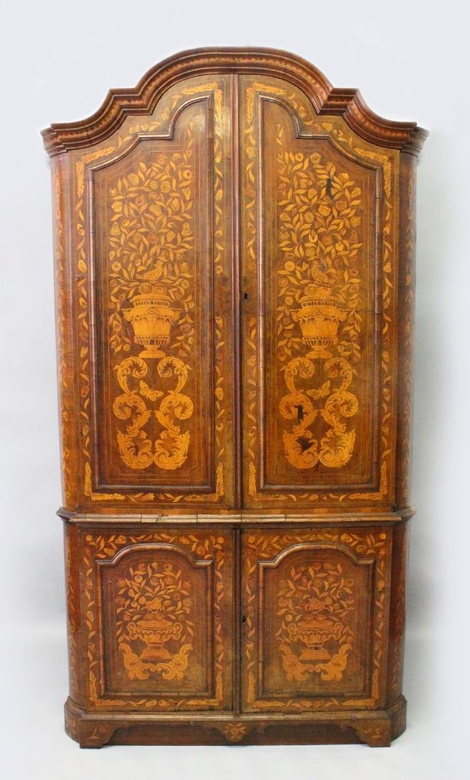 A 19TH CENTURY DUTCH WALNUT AND MARQUETRY STANDING