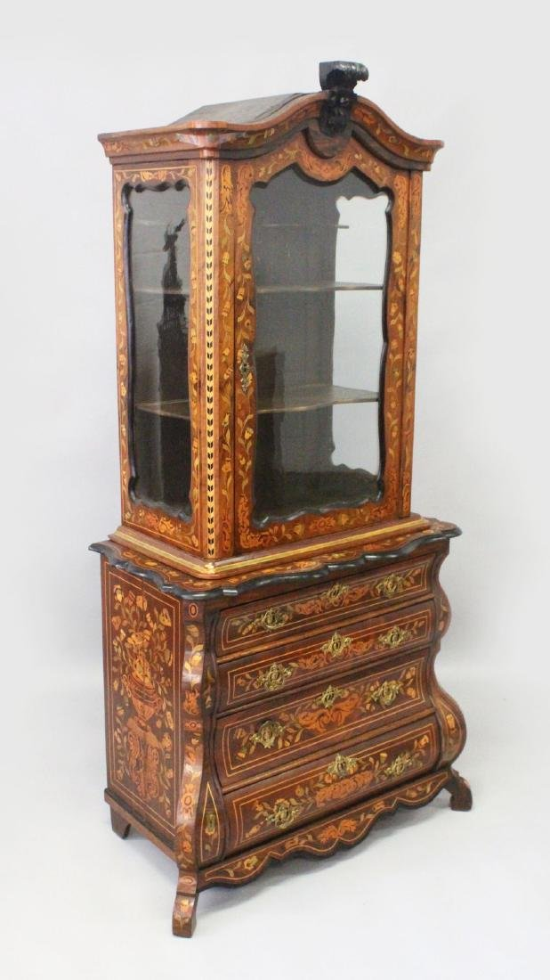 A 19TH CENTURY DUTCH WALNUT AND FLORAL MARQUETRY