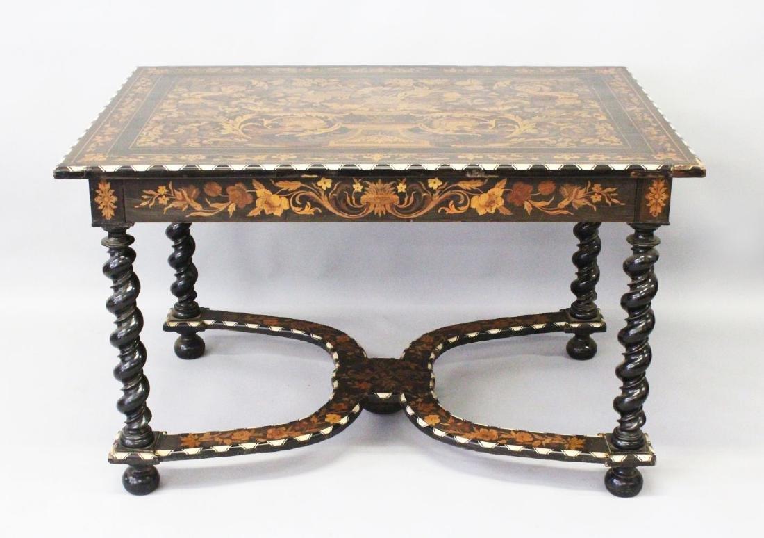 A GOOD 19TH CENTURY ITALIAN EBONY AND MARQUETRY TABLE,
