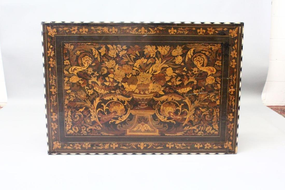 A GOOD 19TH CENTURY ITALIAN EBONY AND MARQUETRY TABLE, - 4