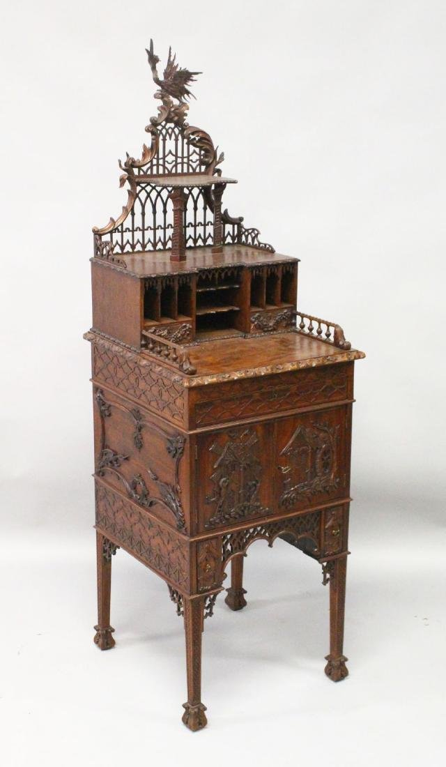 A CHINESE CHIPPENDALE REVIVAL SIDE CABINET, 20TH