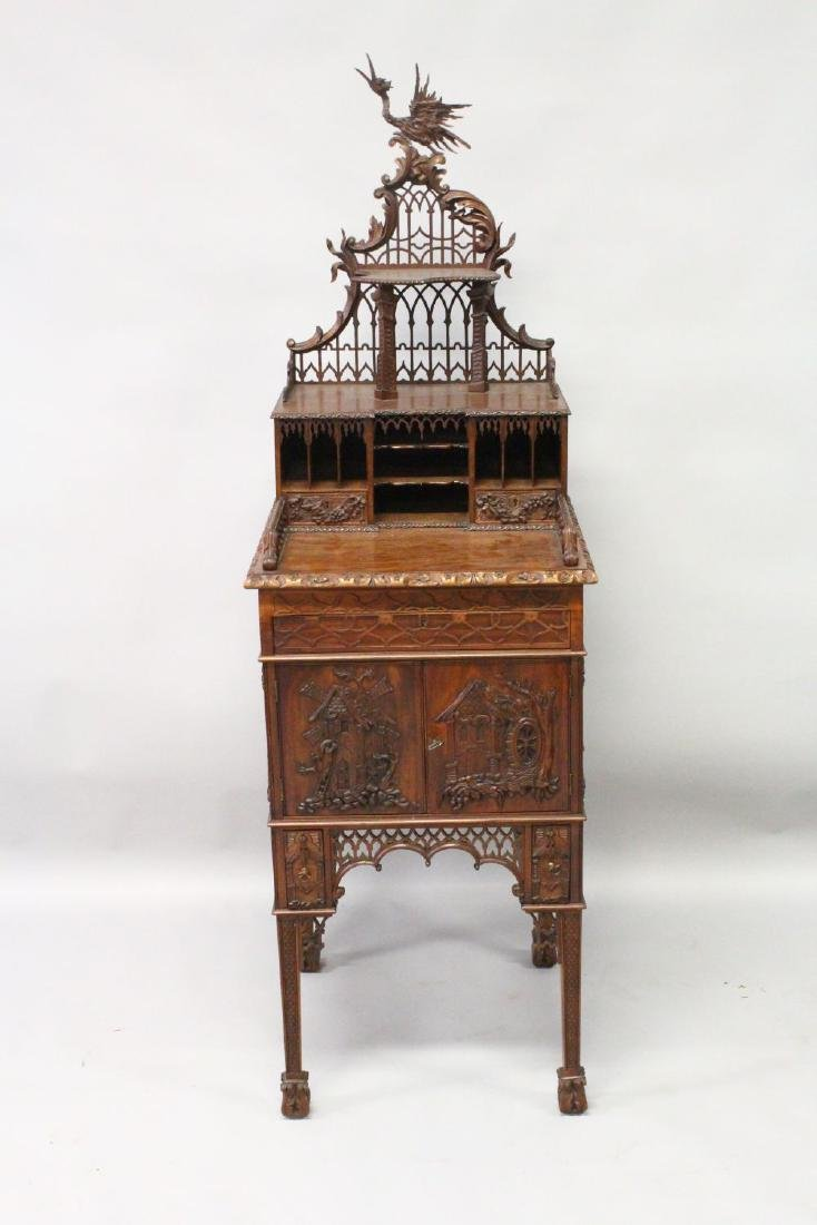 A CHINESE CHIPPENDALE REVIVAL SIDE CABINET, 20TH - 2