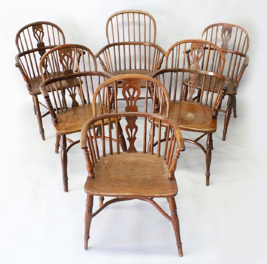 A HARLEQUIN SET OF SIX YEW, ASH AND ELM WINDSOR