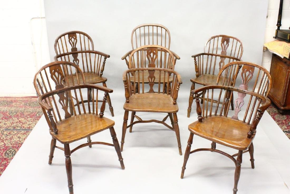 A HARLEQUIN SET OF SIX YEW, ASH AND ELM WINDSOR - 2