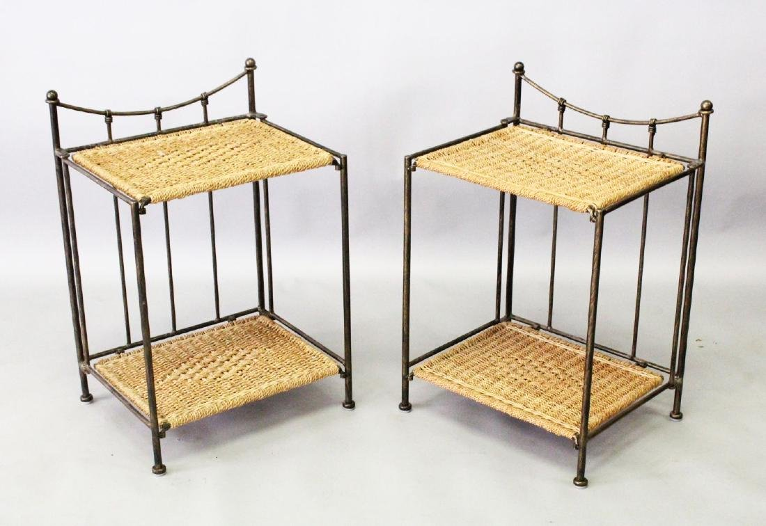A PAIR OF 20TH CENTURY WROUGHT IRON AND WICKERWORK