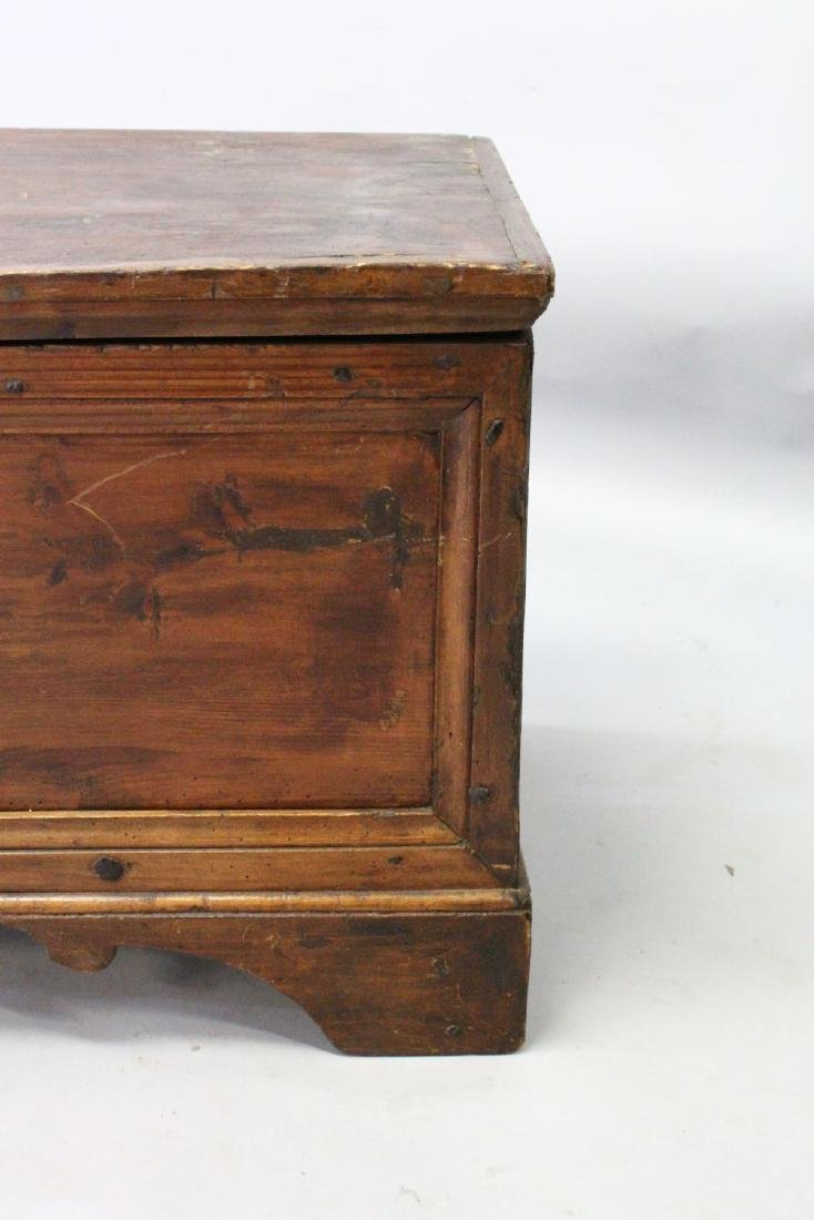 AN 18TH CENTURY COFFER, with plain top and two panels - 2