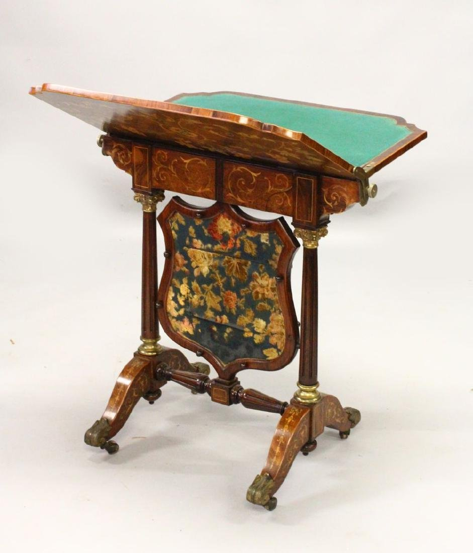 A HIGHLY UNUSUAL 19TH CENTURY ROSEWOOD AND MARQUETRY