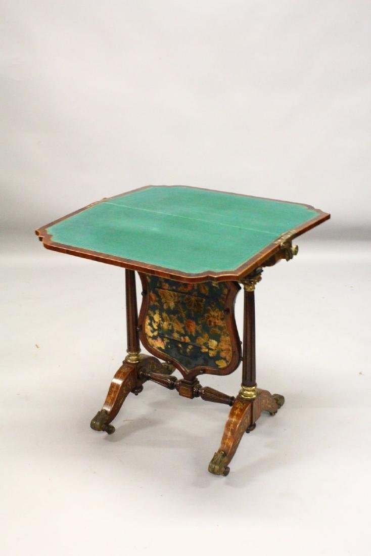 A HIGHLY UNUSUAL 19TH CENTURY ROSEWOOD AND MARQUETRY - 2