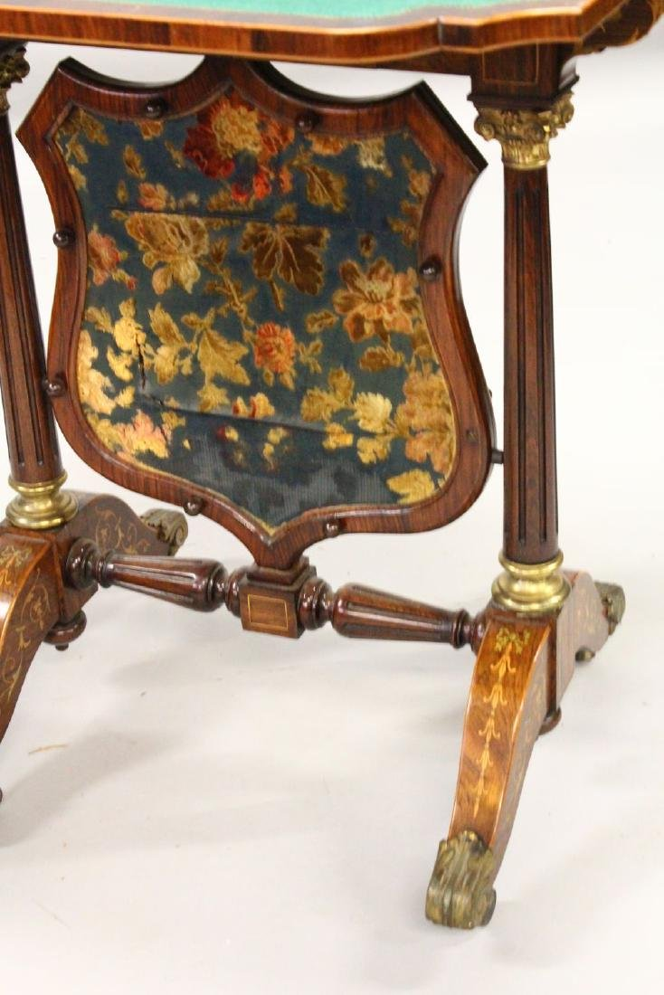 A HIGHLY UNUSUAL 19TH CENTURY ROSEWOOD AND MARQUETRY - 3