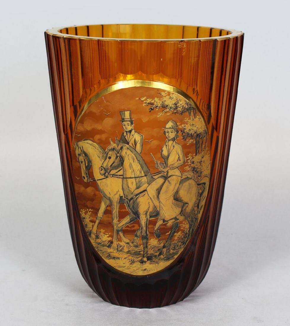 A FRENCH GLASS VASE, with a large oval scene of horse
